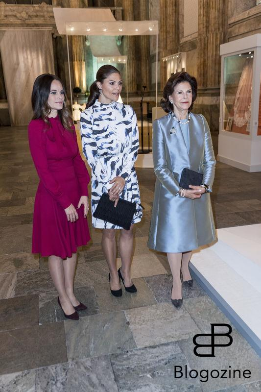 Princess Sofia, Crown Princess Victoria, Queen Silvia going around to watch the exhibition. Today inaugurated the new exhibition, Royal wedding dresses 1976-2015, at the Royal Palace in Stockholm. Pictures of the opening ceremony with the queen and all the princesses. - Idag invigdes den nya utställningen Kungliga brudklänningar 1976-2015 på Kungliga Slottet i Stockholm. Bilder från invigningen med drottningen och alla prinsessor. Royal Palace, Stockholm, Sweden 2016-10-17 (c) Pelle T Nilsson/Stella Pictures