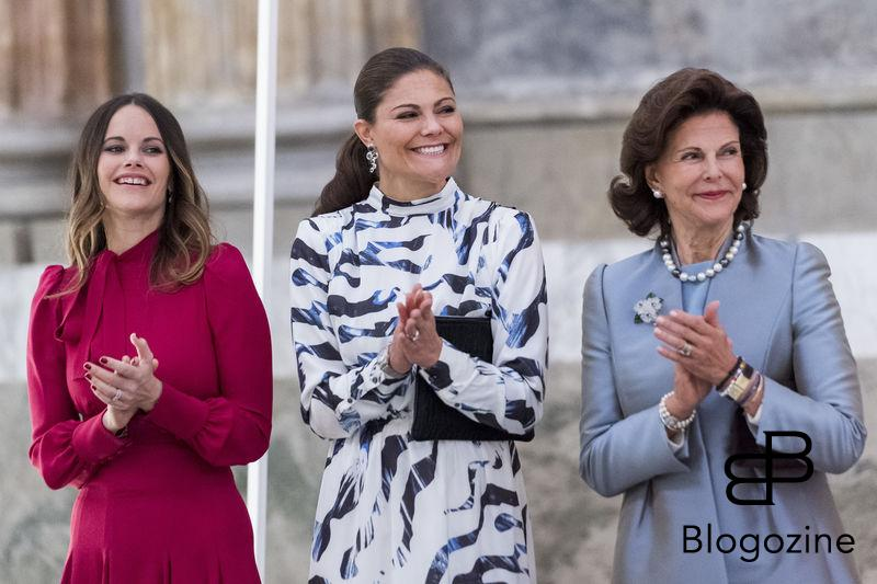 Princess Sofia, Crown Princess Victoria, Queen Silvia Today inaugurated the new exhibition, Royal wedding dresses 1976-2015, at the Royal Palace in Stockholm. Pictures of the opening ceremony with the queen and all the princesses. - Idag invigdes den nya utställningen Kungliga brudklänningar 1976-2015 på Kungliga Slottet i Stockholm. Bilder från invigningen med drottningen och alla prinsessor. Royal Palace, Stockholm, Sweden 2016-10-17 (c) Pelle T Nilsson/Stella Pictures