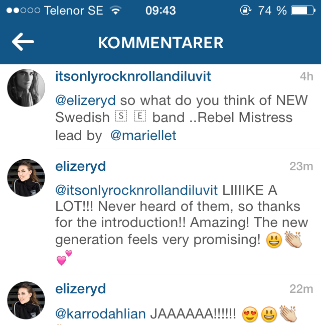 Eliza Ryd instagram comment