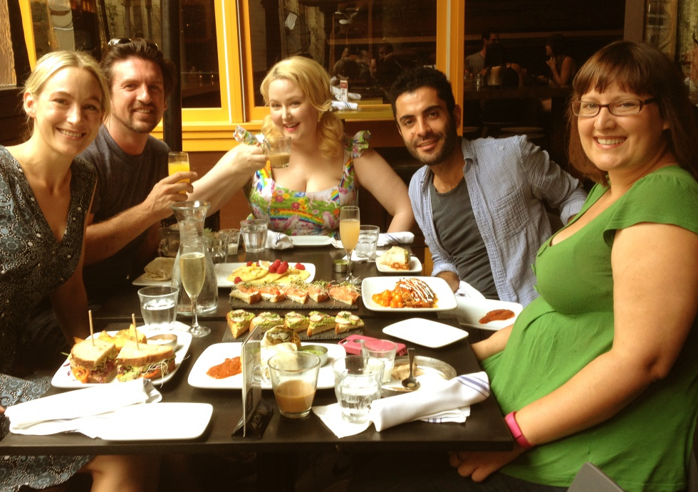 Brunch at Mud Hen Tavern with chef Marc, Katrina, George and Amy.