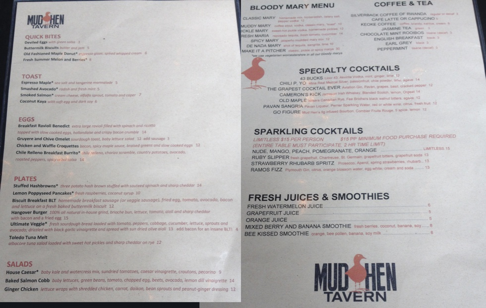 The brunch menu at Mud Hen Tavern.