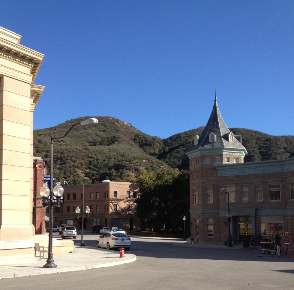 The Business District at Golden Oak Ranch and the beautiful mountains surrounding it.