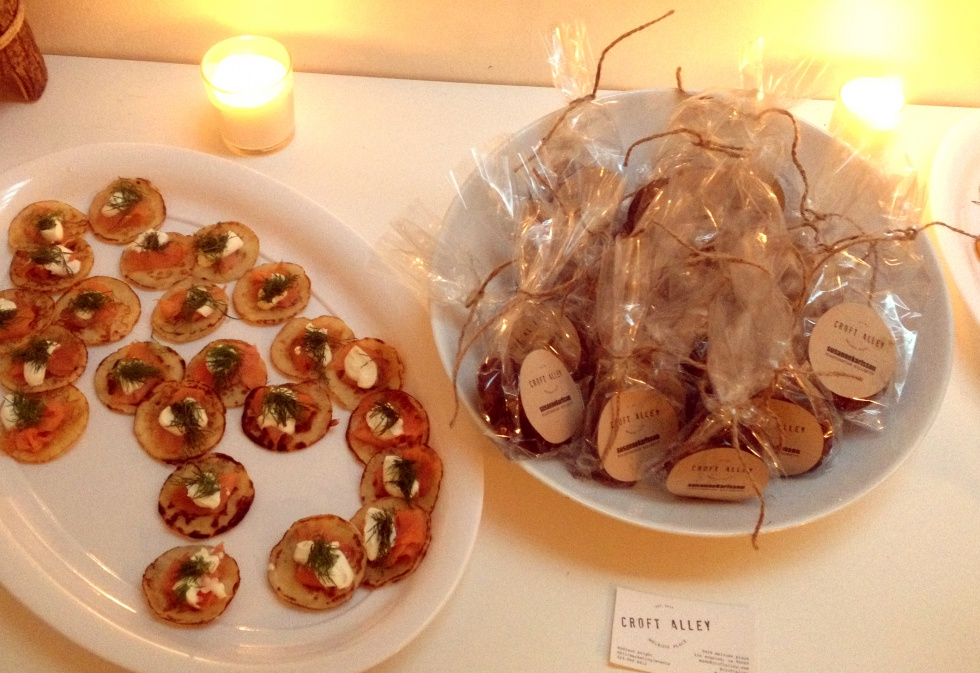 Delicious small Swedish pancakes with salmon and crème fraiche and cookies by Croft Alley.
