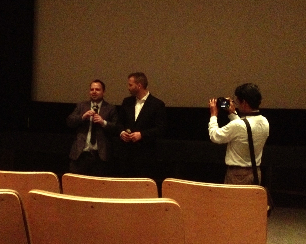 Kenlon (director) and Adam (screenwriter and actor) are introducing the movie.