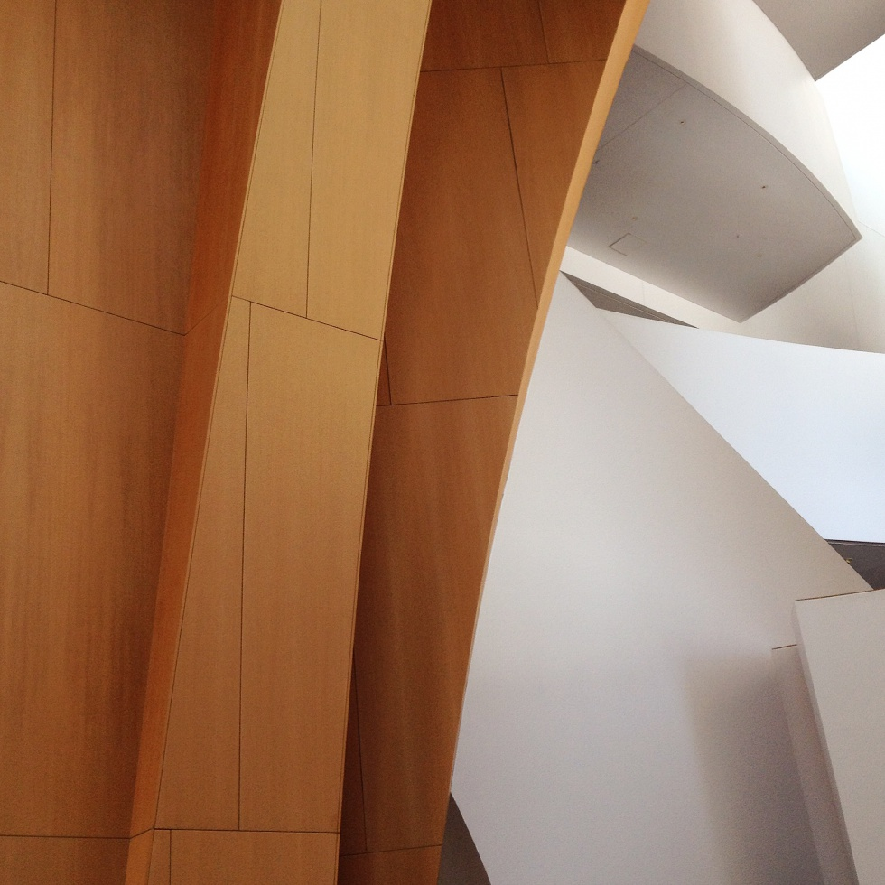Interior detail of Walt Disney Concert Hall. Architect: Frank Gehry.