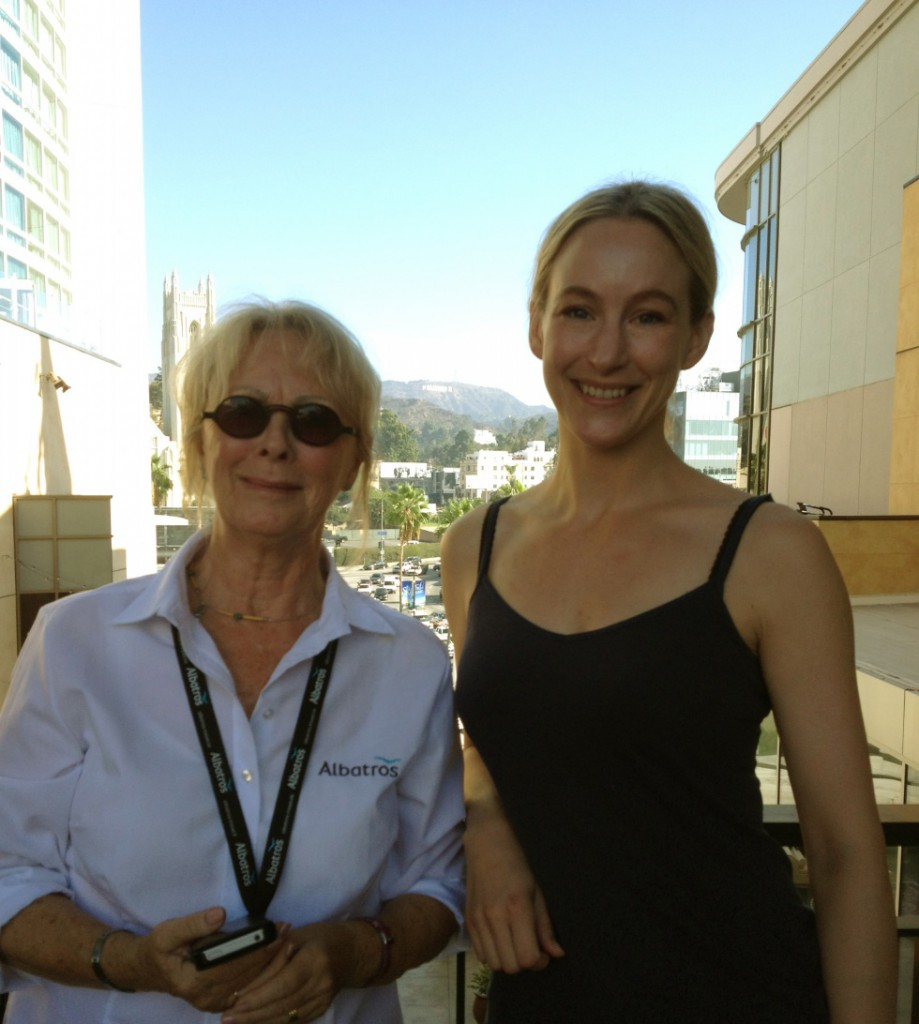 With tour guide Eva at Hollywood-Highland, with the Hollywood sign in the background.