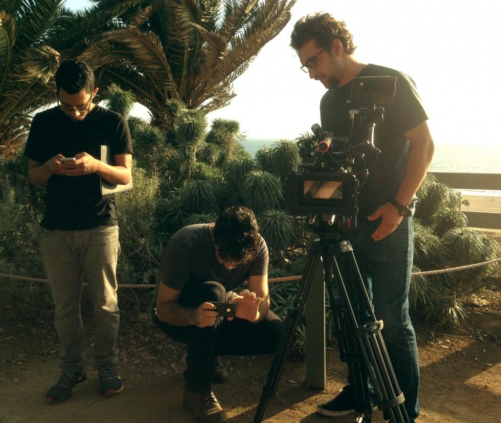 The small behind the camera crew preparing for the last scene in Santa Monica.