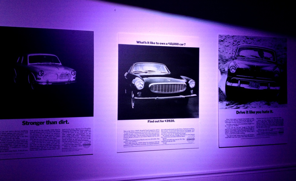 Some of the Volvo ads showed in the history show room.