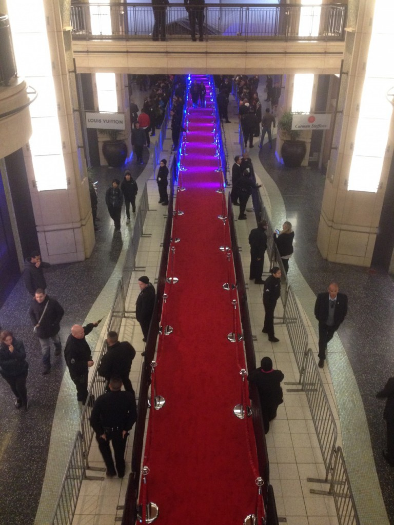 The red carpet leading up to the Dolby Theater, like at the Academy Awards.