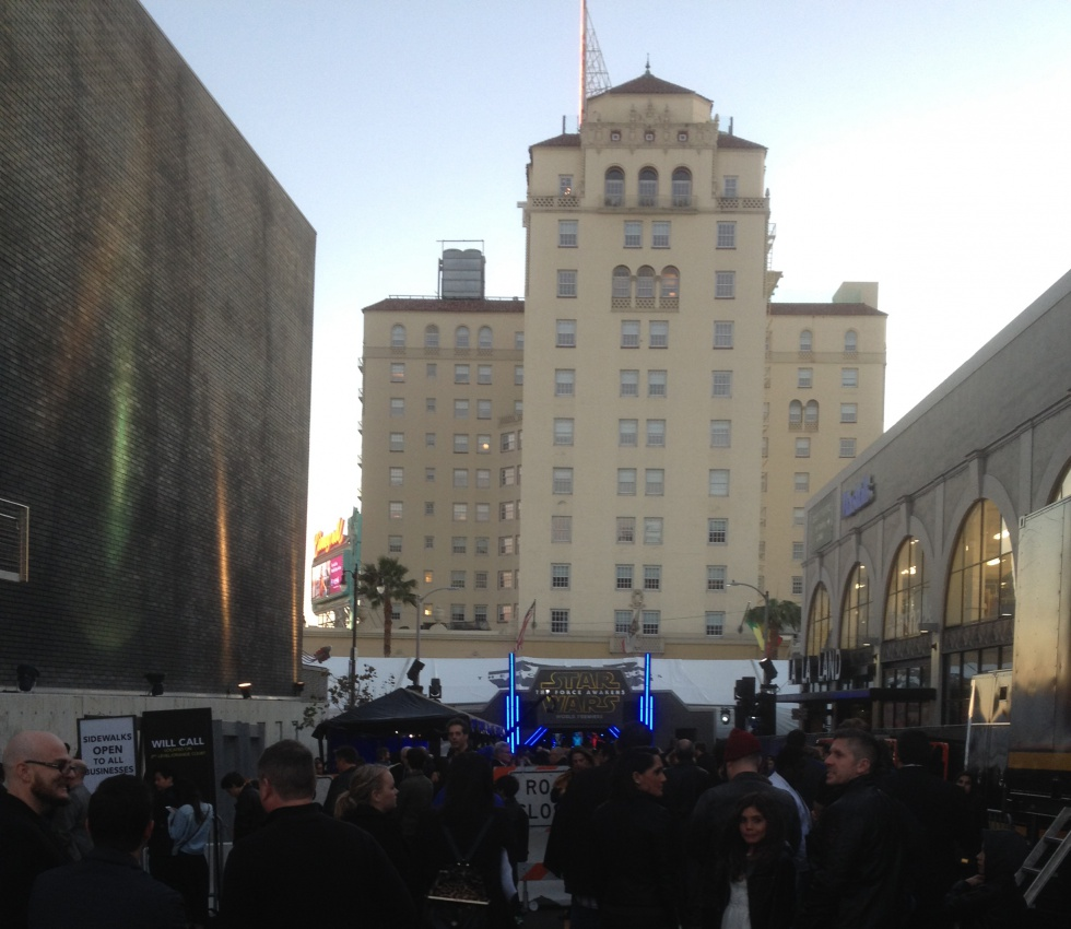 One of the entrances to the event, with Hollywood Roosevelt Hotel as a backdrop.