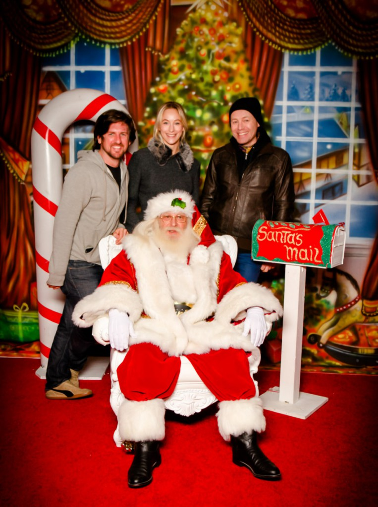 Visiting Santa with my friends Marc and Jani.