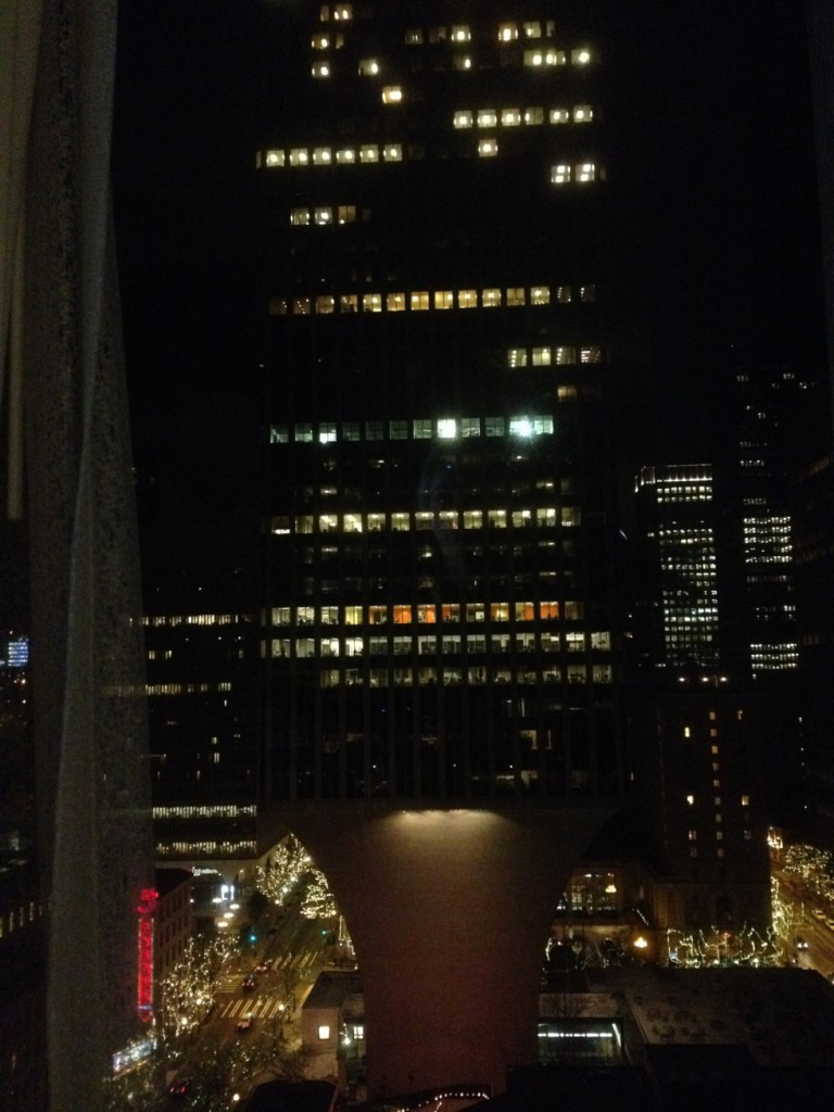 View from my hotel room by night.