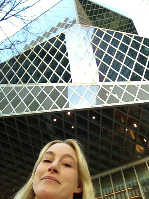 Outside Seattle Central Library, designed by Rem Koolhaas.