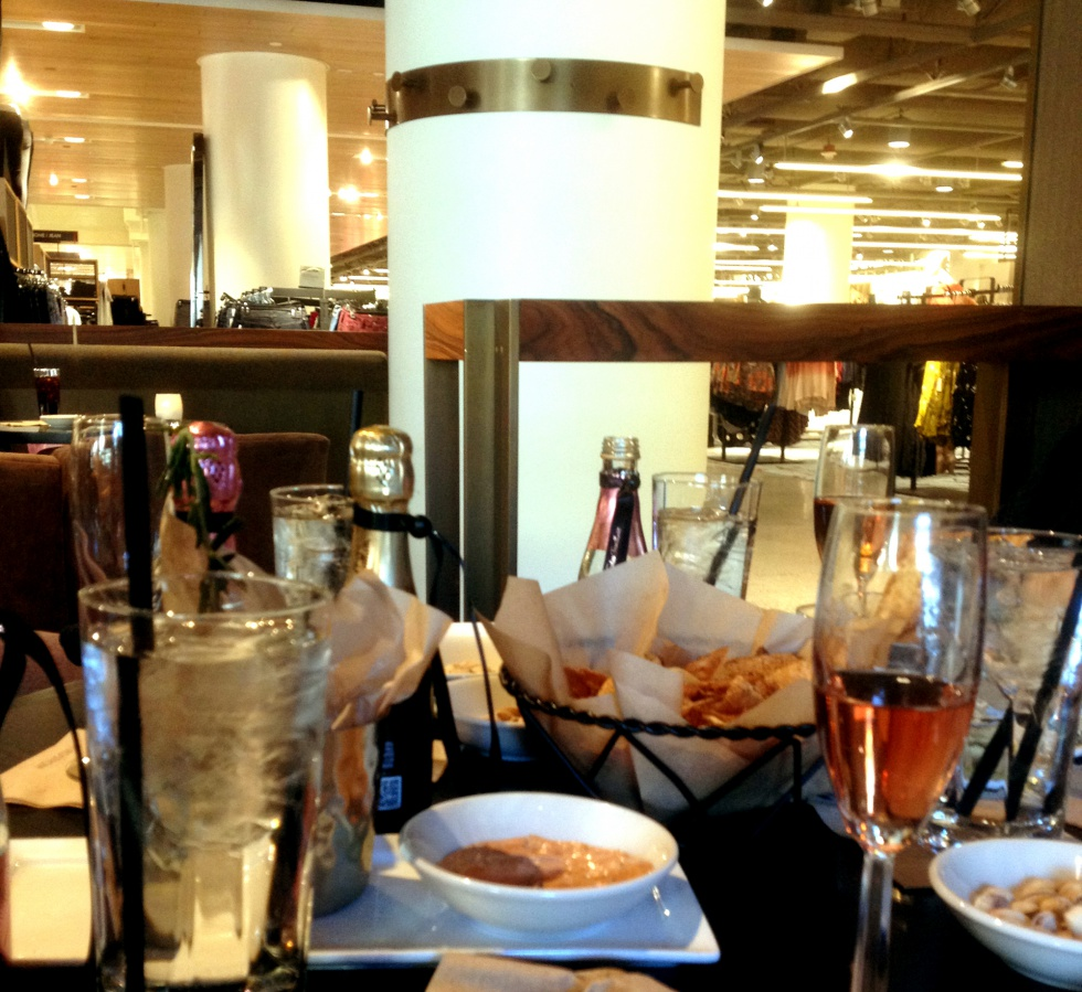 The lunch break at the wardrobe fitting at Nordstrom included champagne. (We were also celebrating a birthday.)