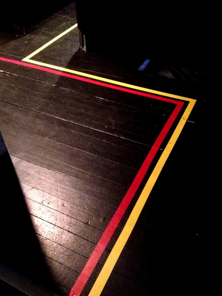 A red and yellow line to guide you to your seat.