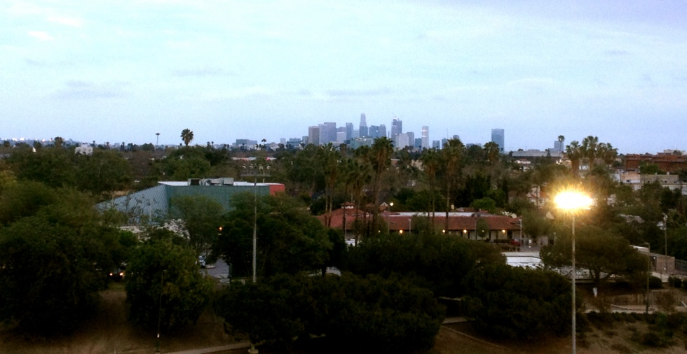 View from The Grove's parking structure towards Downtown.