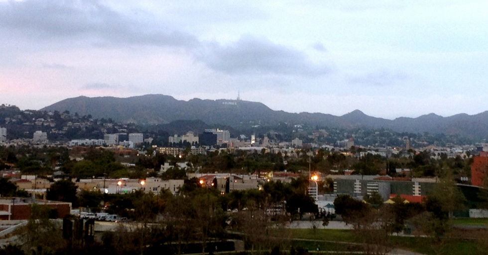 View from The Grove's parking structure towards Hollywood Hills.