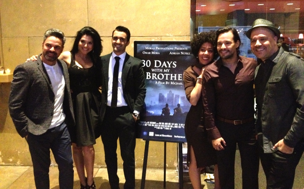 Adrian Nunez plays one of the leads, here with friends before the screening.
