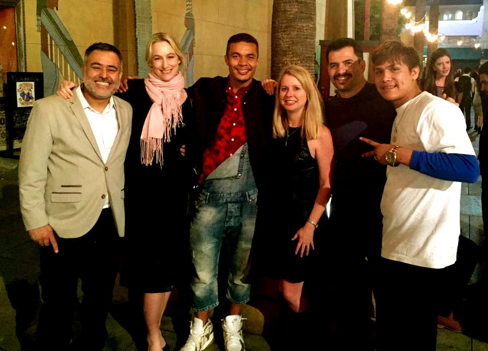 Mingling with old and new friends. Felipe (screenwriter), me, Ismael (actor), Kim (producer), Hugo (actor) and Johnny (actor).