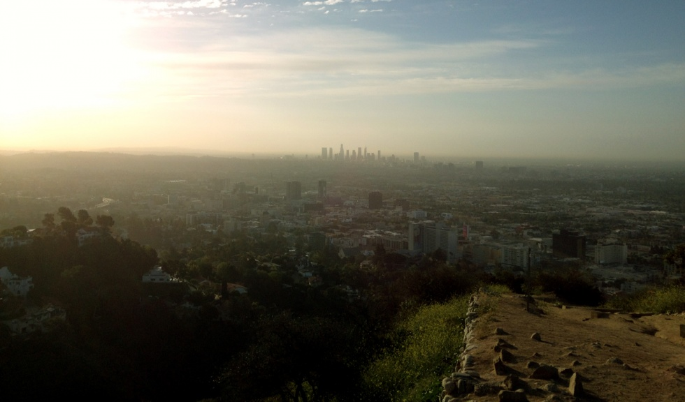 Sunrise over Downtown and Hollywood Hills.