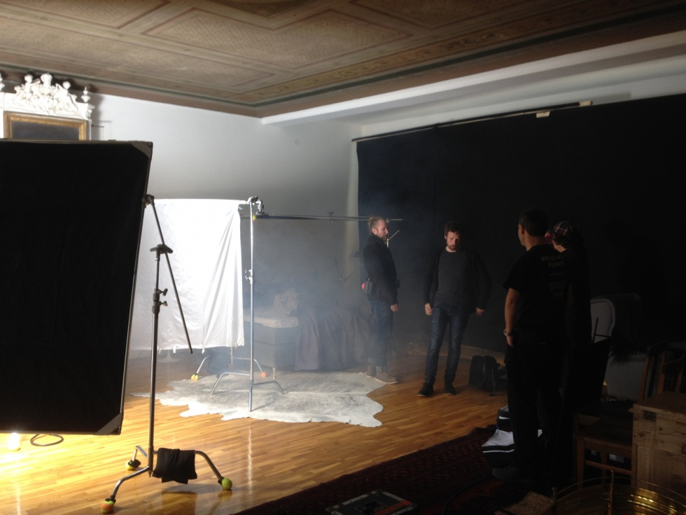 The team is preparing for the shoot.