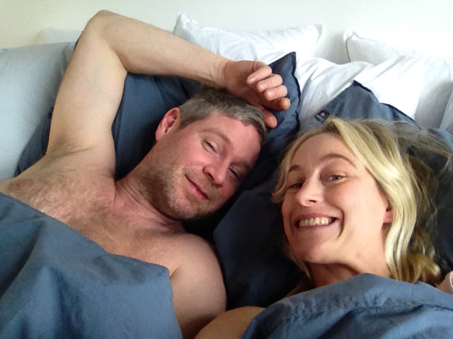 Me and my co-star Lukas trying not to fall asleep in the comfy bed.