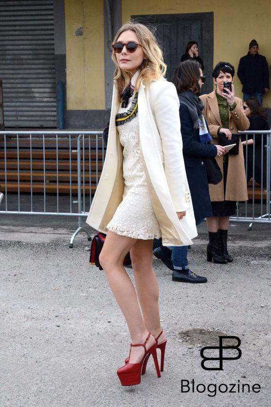 MILAN - FASHION WEEK - GUCCI RUNWAY GUEST ARRIVALS - IN PIC ELIZABETH OLSEN PH CLAUDIO MANGIAROTTI