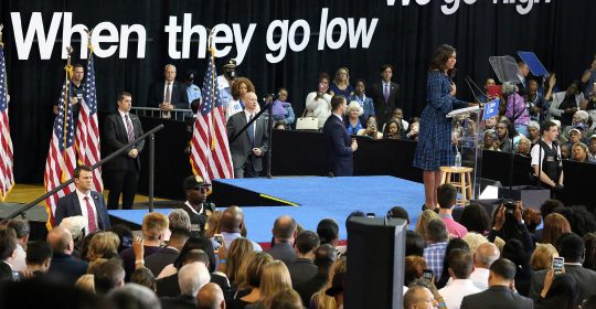 6220009 PHILADELPHIA, PA - SEPTEMBER 28: The First Lady, Michelle Obama pictured laying out the stakes of the election and urging Pennsylvanians to support Clinton and Kaine and register to vote ahead of the October 11 deadline at the Tom Gola Arena at LaSalle University in Philadelphia, Pennsylvania  on September 28, 2016  photo credit  Star Shooter /insight media COPYRIGHT STELLA PICTURES