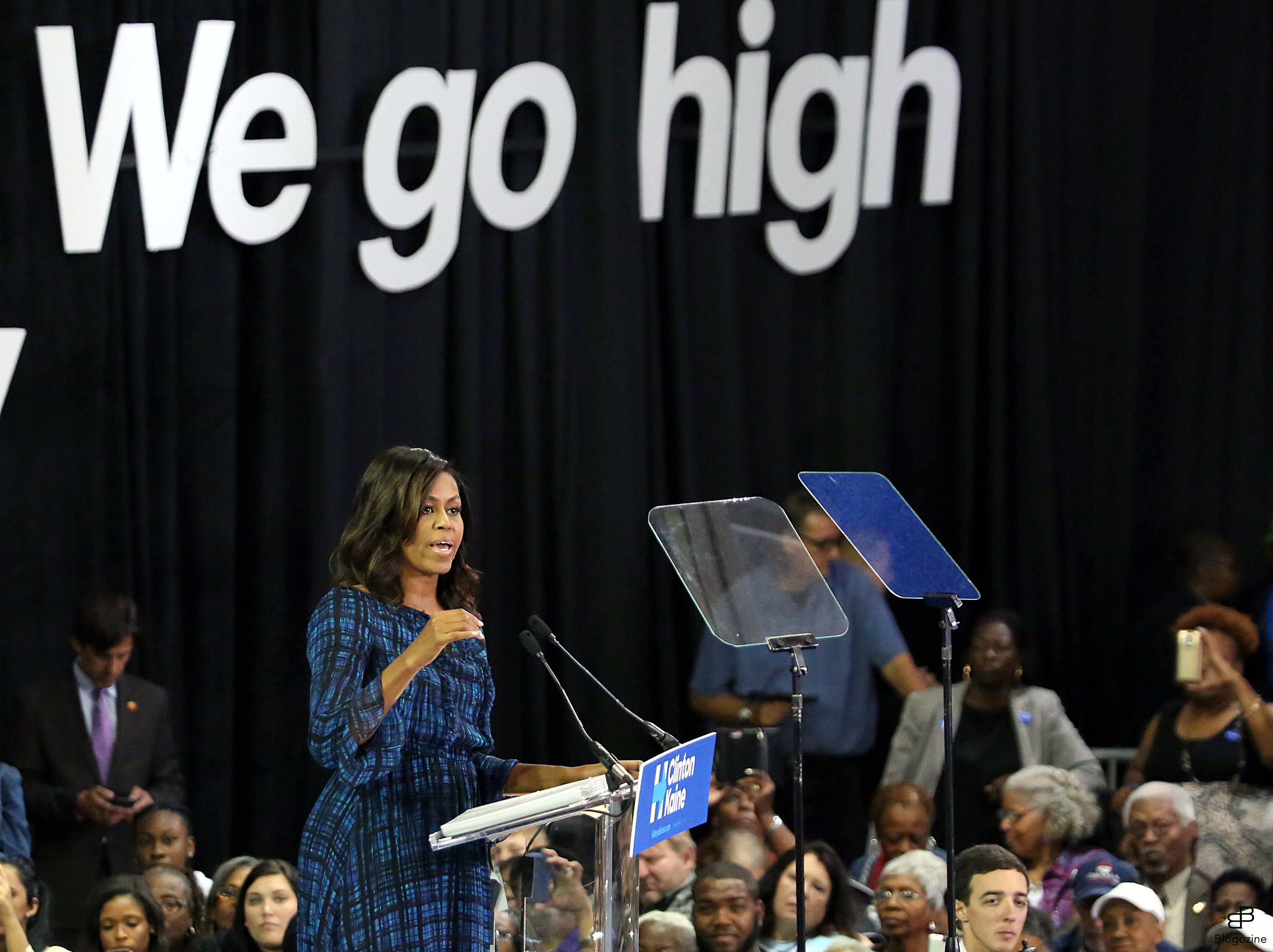 6220077 PHILADELPHIA, PA - SEPTEMBER 28: The First Lady, Michelle Obama pictured laying out the stakes of the election and urging Pennsylvanians to support Clinton and Kaine and register to vote ahead of the October 11 deadline at the Tom Gola Arena at LaSalle University in Philadelphia, Pennsylvania on September 28, 2016 photo credit Star Shooter /insight media COPYRIGHT STELLA PICTURES