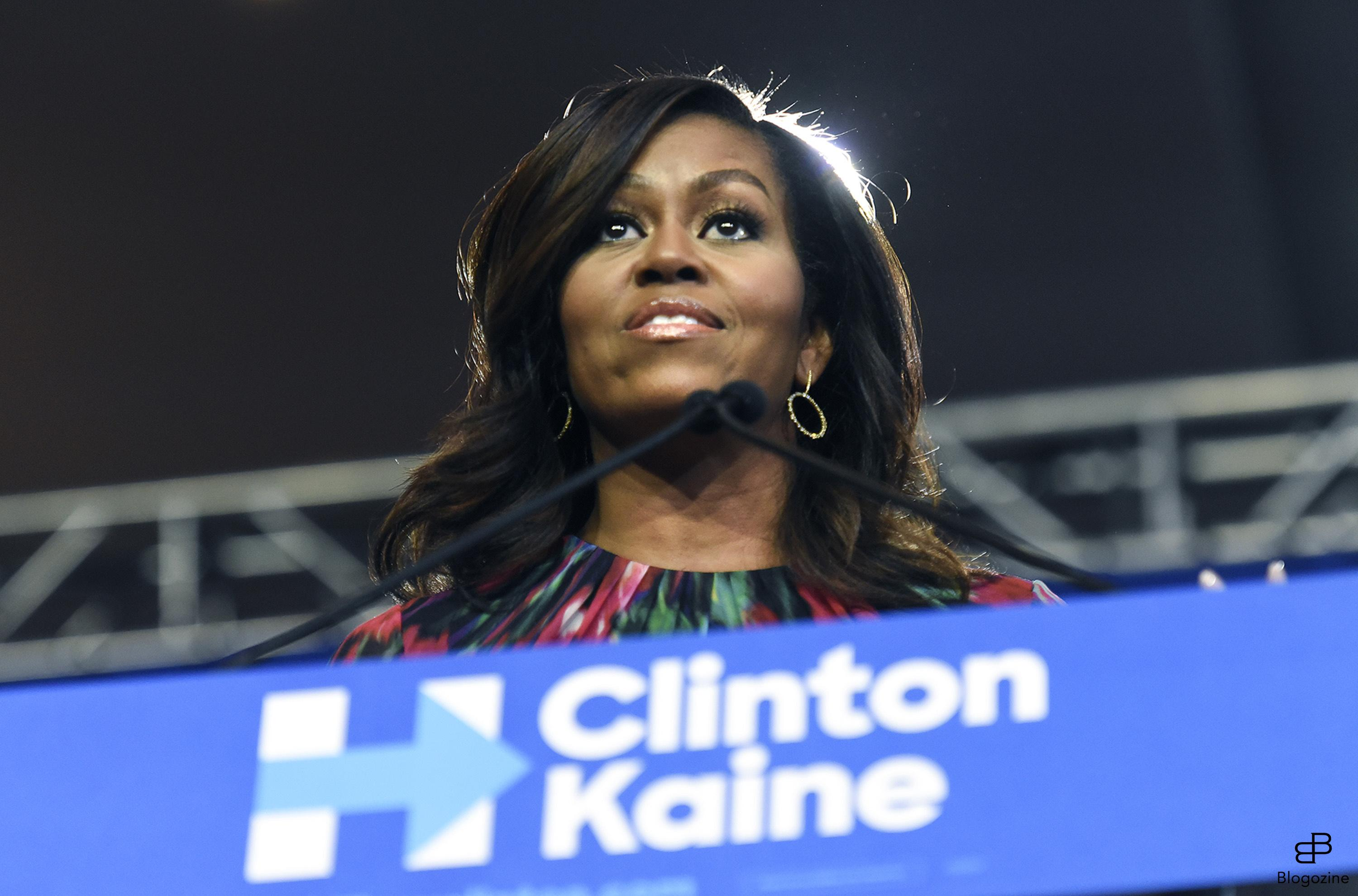 6287683 First lady Michelle Obama stumped for Hillary Clinton during a speech on Tuesday, October 4, 2016 in the Convention Center in Charlotte, NC, USA. Photo by John D. Simmons/Charlotte Observer/TNS/ABACAPRESS.COM COPYRIGHT STELLA PICTURES