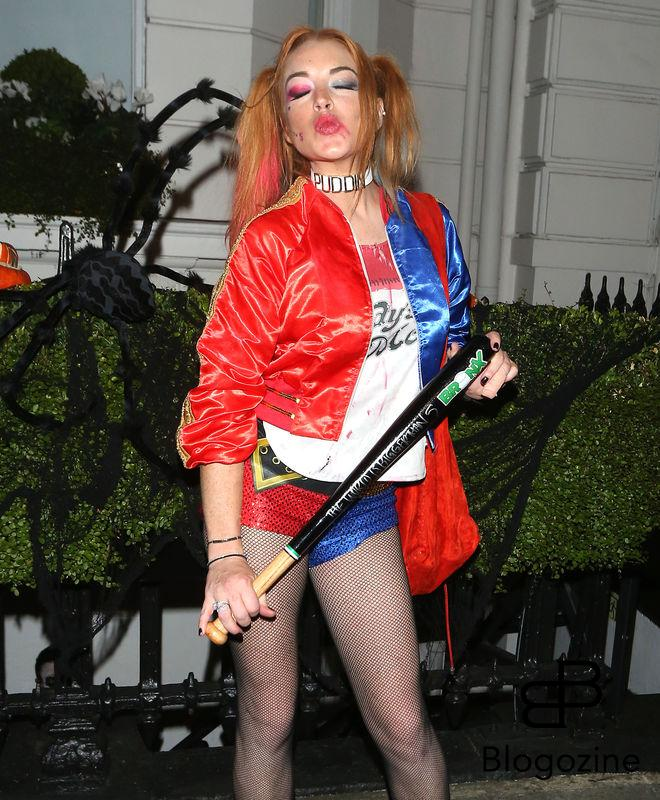1 November 2016. Lindsay Lohan seen here dressed as Harley Quinn for friend Fran Cutler's halloween Party at Albert's nightclub in London who was also seen partying with Jo Wood who was also in Fancy dress. Credit: GoffPhotos.com Ref: KGC-49/182