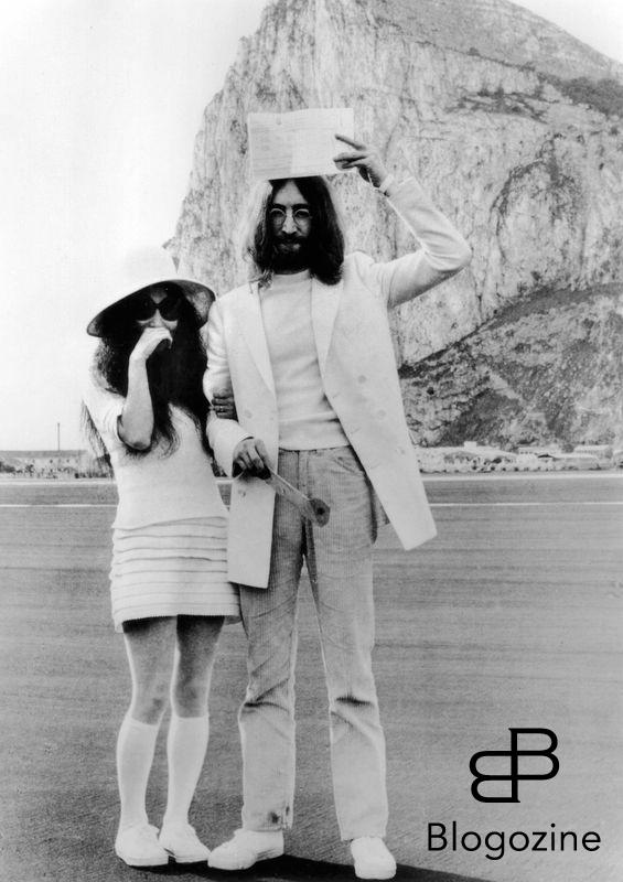 Bandphoto / uppa JOHN LENNON and YOKO ONO pose for the cameras on their wedding day March 21, 1969, with John Lennon holding aloft the couple's marriage certificate at the Rock of Gibraltar. Ref:B66_083885_012 Date:21.03.1969 COMPULSORY CREDIT: Bandphoto / uppa THIS IMAGE IS FOR EDITORIAL USE ONLY IN THE PROMOTION OR REVIEW OF THE FILM 9th November 1966 - John Lennon and Yoko Ono meet for the first time at her exhibition at the Indica Gallery in London. Lennon remembered the date of their meeting as the 9th but many Beatles historians contend that it actually happened on the 7th, the day before the exhibition opened.