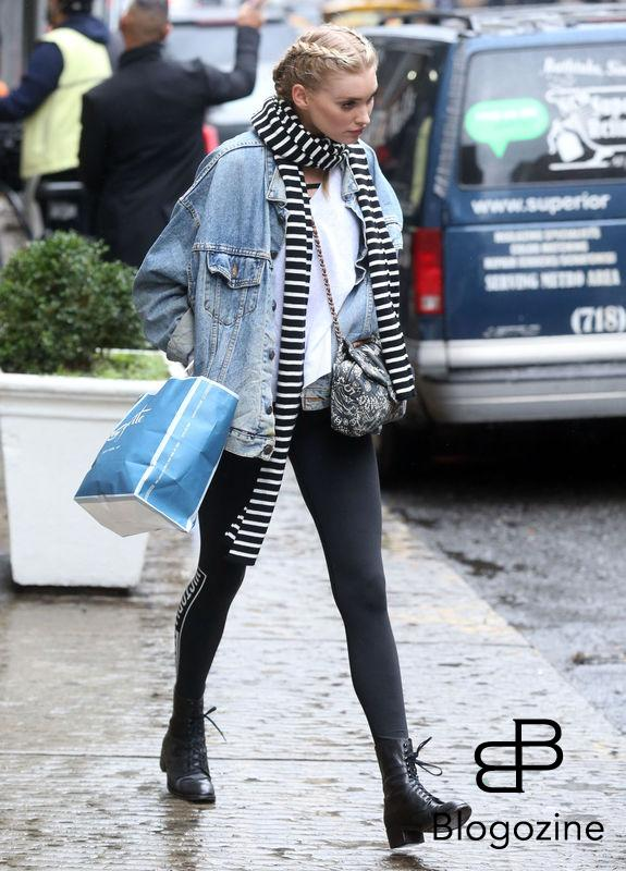 52226906 Victoria's Secret model Elsa Hosk is spotted out shopping in New York City, New York on November 9, 2016. Elsa stayed warm on a cold and rainy day with a denim jacket and a striped scarf. FameFlynet, Inc - Beverly Hills, CA, USA - +1 (310) 505-9876
