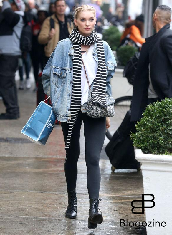 52226901 Victoria's Secret model Elsa Hosk is spotted out shopping in New York City, New York on November 9, 2016. Elsa stayed warm on a cold and rainy day with a denim jacket and a striped scarf. FameFlynet, Inc - Beverly Hills, CA, USA - +1 (310) 505-9876