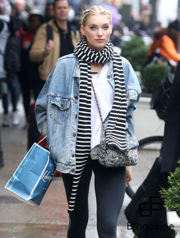 52226903 Victoria's Secret model Elsa Hosk is spotted out shopping in New York City, New York on November 9, 2016. Elsa stayed warm on a cold and rainy day with a denim jacket and a striped scarf. FameFlynet, Inc - Beverly Hills, CA, USA - +1 (310) 505-9876