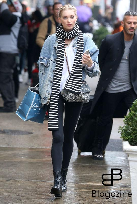 52226899 Victoria's Secret model Elsa Hosk is spotted out shopping in New York City, New York on November 9, 2016. Elsa stayed warm on a cold and rainy day with a denim jacket and a striped scarf. FameFlynet, Inc - Beverly Hills, CA, USA - +1 (310) 505-9876