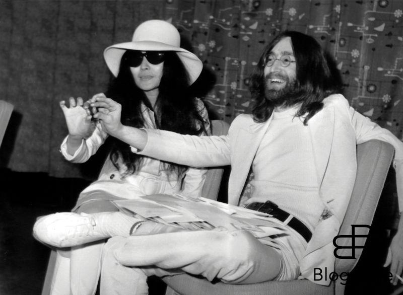 Beatle John Lennon and wife Yoko Ono after arriving at London Heathrow airport. They had been staying in bed for a week at the Hilton Hotel, Amsterdam as a protest against world violence. They are each holding a small acorn which they announced they are sending to each of the world's leaders, to ask them to plant them for peace. 1st April 1969 Ref: B196_095069_2414 Date: 15.03.2000 Compulsory Credit: UPPA/Photoshot 9th November 1966 - John Lennon and Yoko Ono meet for the first time at her exhibition at the Indica Gallery in London. Lennon remembered the date of their meeting as the 9th but many Beatles historians contend that it actually happened on the 7th, the day before the exhibition opened.