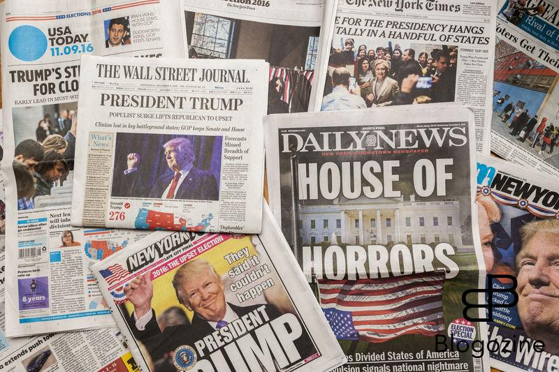 A collection of newspapers report on the previous day's election, seen on Wednesday, November 9, 2016. Because of Hillary Clinton conceding around 3:00 AM most papers did not or could not make a morning edition with the exception of the News Corp. papers, the Wall Street Journal and the New York Post and the New York Daily News. (Photo by Richard B. Levine) *** Please Use Credit from Credit Field ***